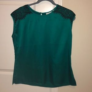 Dark green top with black lace cap sleeves